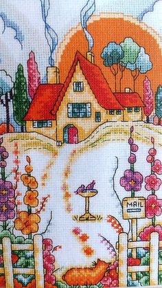 Detail Tapestry Design, Landscapes, Poster, Cross Stitch, Embroidery, My Favorite Things, Sewing, Detail, My Love