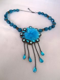 Blue Turquois Glass Acrylic Bead Statement Necklace - Facetted, Teardrops Rhinestones, Plush, Pompon, Bobble Pendant with Metal Spacers