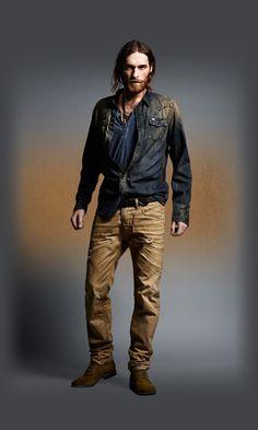 Diesel - Men's Apparel - Male Jeans shirt, top, brown jeans, shoes