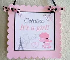 Paris Themed Baby Shower Door Hanger by SprinklesPaperieCo on Etsy, $10.00