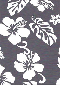 Pareau -  Grey - Vintage Style Hawaiian Fabrics Tropical cotton, Pareau fabric with hibiscus, plumeria flowers and monstera leaves, more at: BarkclothHawaii.com