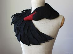 Felt Scarves – Black Swan - felted wool animal scarf, stole/shrug – a unique product by celapiu on DaWanda