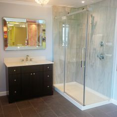 Our *Halo* Shower Door and B3 Square base in designer's work. http://www.maax.com/en/products/shower-doors/alcove/halo-return-panels