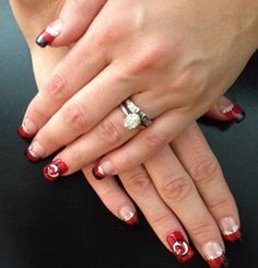 Wedding nail design gel nails with 3d ribbons matrimonial i was so excited when hockey came back last season i got my nails done prinsesfo Choice Image