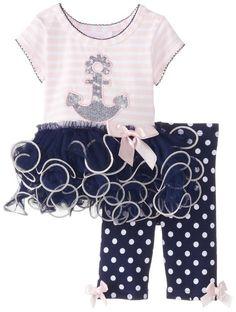 Bonnie Baby Baby-Girls Newborn Anchor Tutu Legging Set, Navy, 3-6 Months