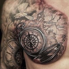 Old School Map Compass Tattoo on Chest - Best Compass Tattoos For Men: Cool Compass Tattoo Designs and Ideas For Guys Compass And Map Tattoo, Map Compass, Compass Tattoo Design, Map Tattoos, Body Art Tattoos, Sleeve Tattoos, Skull Tattoos, Tatoos, Male Chest Tattoos