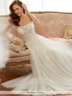Sophia Tolli - Y11706 Harriet - Strapless tulle soft A-line gown with semi- 5da6444cd