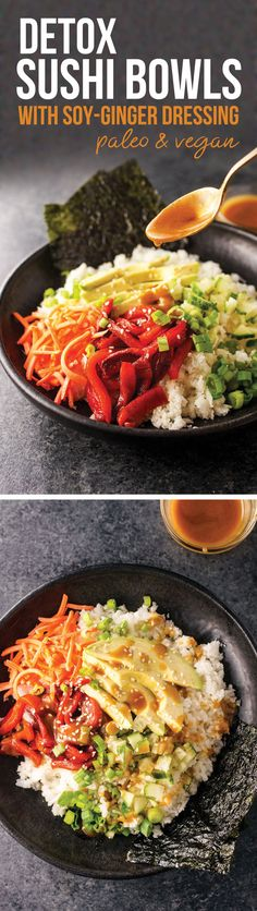 """These Detox """"Sushi"""" Bowls are made with jicama rice for a grain-free bowl, and the soy-ginger dressing tastes amazing over the top! A great healthy alternative to salads this summer."""