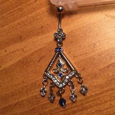 Dangle chandelier belly button ring Steel blue chandelier belly button ring with embedded crystals Jewelry