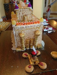"""""""Gingerbread Temple"""" for Hanukkah! Hanukkah Music, Hanukkah Crafts, Hannukah, Hanukkah Food, Hanukkah Traditions, Passover And Easter, Jewish Recipes, Bible Crafts, Festival Lights"""