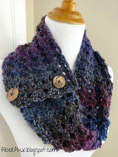 Free Crochet Pattern...Estelle Button Cowl! - Fiber Flux...Adventures in Stitching