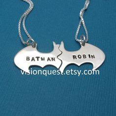 Batman Best Friend necklaces, Personalized Friendship sterling silver CHAINS