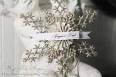 Christmas Snowflake Ornament JOYEUX NOEL Glitter Gift Tag Banner Vintage French Christmas Silver Decor Shabby Chic Paper Rosette
