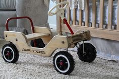 A classic and soothing nursery. We worked around a vintage radio flyer car pulling out the wood tones and injecting soft blue/gray colors into the space. Wood Kids Toys, Wood Toys Plans, Toys For Boys, Cardboard Car, Making Wooden Toys, Radio Flyer, Small Wood Projects, Project Nursery, Wooden Diy