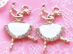 2 Pcs Dancing Girl Golden Metal Accessory Charms Charm Pendant Jewelry Making Finding #A1145
