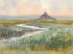 """Mont Saint-Michel, France V"" watercolor by Keiko Tanabe"