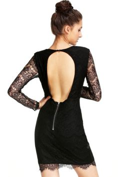 Darcy and Dolly - Black Plunge Front Cut Out Back Lace Bodycon Dress, £64.99 (http://www.darcyanddolly.com/black-plunge-front-cut-out-back-lace-bodycon-dress/)