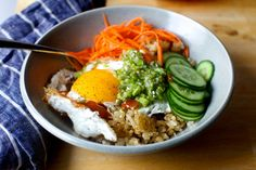 easy/quick from leftovers: crispy rice and egg bowl with ginger-scallion vinaigrette – smitten kitchen Asian Recipes, New Recipes, Vegetarian Recipes, Cooking Recipes, Healthy Recipes, Ethnic Recipes, Vegan Vegetarian, Yummy Recipes, Smitten Kitchen