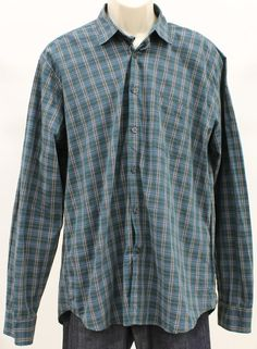 a50a856abd0 STEVEN ALAN Plaid Single Needle Mens Casual Shirt Button Down Shirt sz XL   STEVENALAN