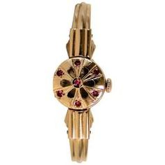 14-carat Gold Russian Haupu Ladies Hunter Watch with Rubies