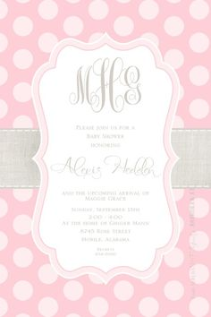 Pink Linen Band - great for baby shower invite #invitations