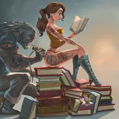 The Beast is a tattoo artist and Belle a sexy tattooed reader... Illustration by Joel Santana.