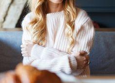 Cozy  sweater wavy hair