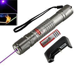 High Power Blauw Paars Violet Laser Pointer Pen Krachtige 405nm heldere Enkele Punt Laser Burning Match 18650 Batterij + Charger