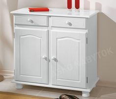 Wooden Sideboard 2 Drawer Door White Solid Pine Shelved Cupboard Cabinet Unit for sale Wood Storage Cabinets, Cupboard Storage, Glass Dining Table, Dining Table Design, Buffet, Furniture Catalog, Solid Pine, Wooden Doors, Dining Room Furniture