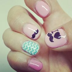 Mustache & Chevron nails! Using stamps.