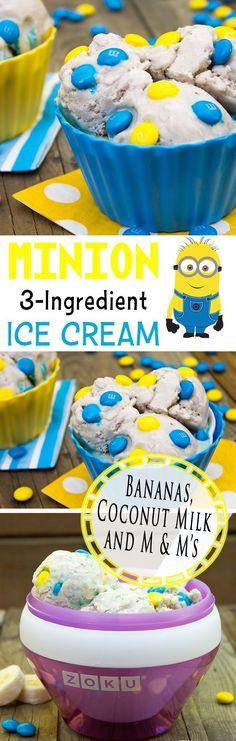 Minion Ice Cream | Banana Coconut Ice Cream Recipe