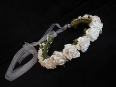 White Paper Rose Flower Girl Crown Bridesmaid Floral by FlowerFair, $30.95Materials: wire, ribbon, paper flowers, twine, eco felt, glue, beauty