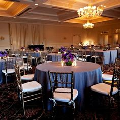 Purple Wedding Reception Decor, love the grey table  clothes