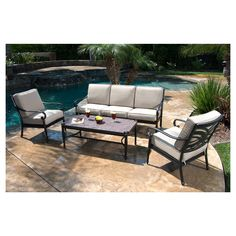<p>The Kent 4-Piece Metal Conversation Set is a beautiful way to update your outdoor space. This set includes a sofa, 2 club chairs and a coffee table. The comfy beige cushions are filled with polyester and covered with soft yet hardwearing Olefin fabric. The durable framework is constructed of aluminum with stainless steel hardware, and is powder coated to stand up to the elements. The table top also has decorative stone accents.</p><p> </p><...
