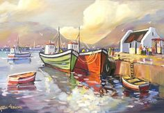 Investment Art and Old Masters Art Specialists Lourensford Estate - Somerset West South African Artists, Anton, Somerset West, Colored Pencils, Painting, Boats, Passion, Sea, Colouring Pencils
