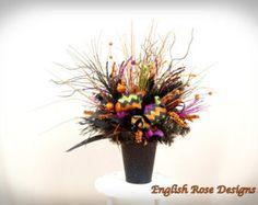 Glittered Pumpkin Arrangement Halloween by englishrosedesignsoh