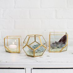 Hira Glass Geometric Pentagon Floral Container in Clear Gold Get modern vases for your DIY wedding arrangements or home decor like this Hira pentagon geometric glass floral vase in clear with gold edges. Use to create a gorgeous submersible centerpiece with fillers, succulents, flowers, and lights! #afloral