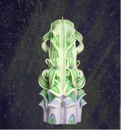 """Купить Резная свеча """"Сириус"""" - салатовый, парафиновая свеча, фигурная свеча, резная свеча"""