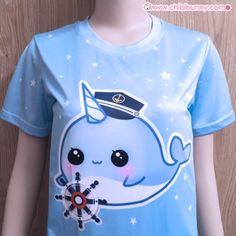Captain narwhal - cute kawaii mesh t-shirt - t6
