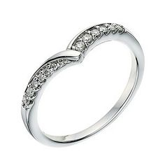 Could this be the wedding ring?     Ernest Jones  9ct white gold diamond set wishbone shape ring  Product code: 9266666