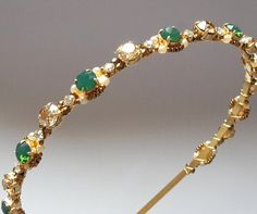Green Opal Swarovski gold  headbandwedding by ZTetyana on Etsy