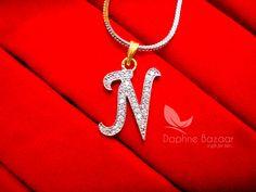 N - Alphabet, Daphne Zircon Pendant for Men or Women