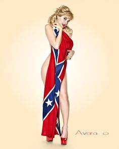 Confederate Flag Girl Southern Pride, Southern Girls, Country Girls, Southern Heritage, Pin Up Girls, Pin Up Tattoos, Flag Tattoos, Sweet Tattoos, Tatoo