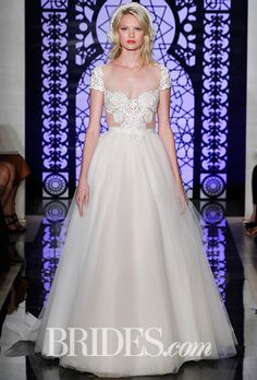 Reem Acra Tulle circular skirt wedding dress with embroidered illusion bodice - Fall 2016 Most Beautiful Wedding Dresses, Cute Wedding Dress, 2016 Wedding Dresses, Wedding Dress Styles, Wedding Gowns, Reem Acra Wedding Dress, Reem Acra Bridal, Bridal Gowns, Dress Out