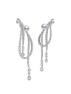 Mikimoto Regalia Akoya Cascade Earrings, Akoya cultured pearls and 3.97ct of diamonds, set in 18k white gold.