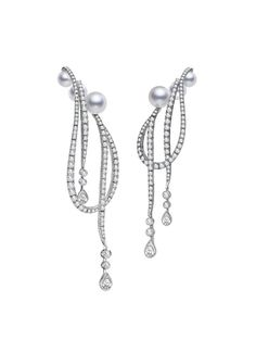 Mikimoto Regalia Akoya Cascade Earrings, Akoya cultured pearls and 3.97ct of diamonds, set in 18k white gold.