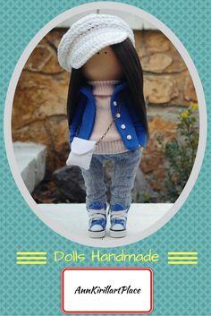 Decor doll handmade blue jeans brunette teenager girl Rag doll Cloth Art doll Gift doll Soft dollunique magic doll