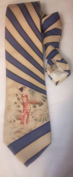 Vintage Hula Girl Tommy Bahama Silk Men's Necktie, Hawaiian, Pin Up Girl, Neackwear, Novelty Tie by KitschArts on Etsy