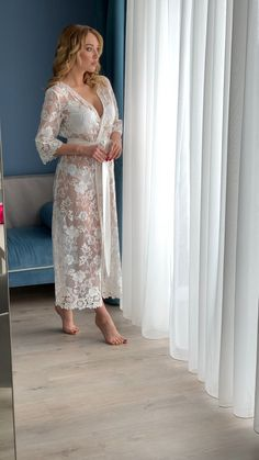 This long lace robe perfect for getting ready on your wedding day or special event prep. Delicate but flirty. The sweet ribbon belt encourages your femininity b Lace Bridal Robe, Bridal Robes, Bridal Lingerie, Sexy Lingerie, Satin Dresses, Night Gown, Evening Gowns, Underwear, Fashion Fashion