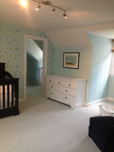 Baby boys room, love all the different patterns